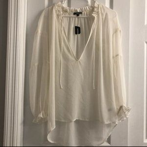 Express Off White / Ivory Sheer Blouse S ! NEW !